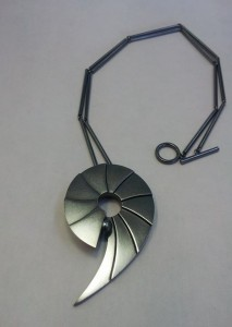 Geometric pendant Oxidised sterling silver, 6mm black Akoya pearl