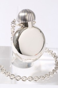 Sterling silver and blue enamel ornamental hip flask with hand-made chain