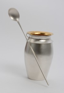 Sterling silver and 22 carat gold plate (interior) raised honey pot and forged spoon